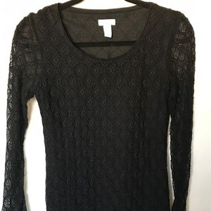 Chico's Black Lace Tee, size 0